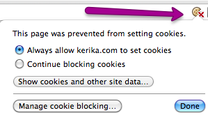 Cookie warning from Google Chrome