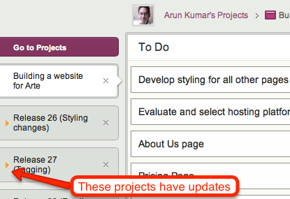 Updates are highlighted on project tabs