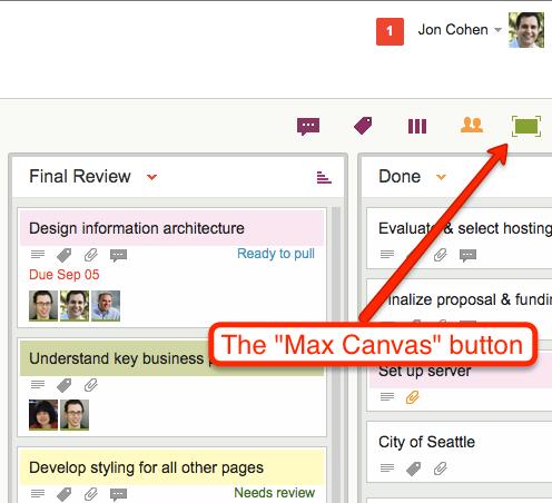 Max Canvas button