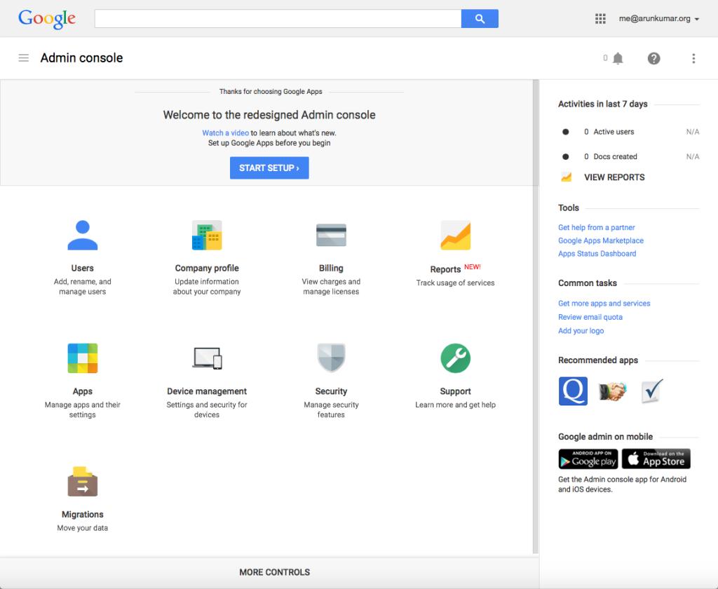 Start at Google Admin console
