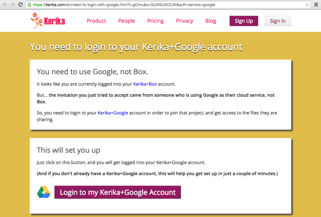 Prompt to login to Kerika+Google account