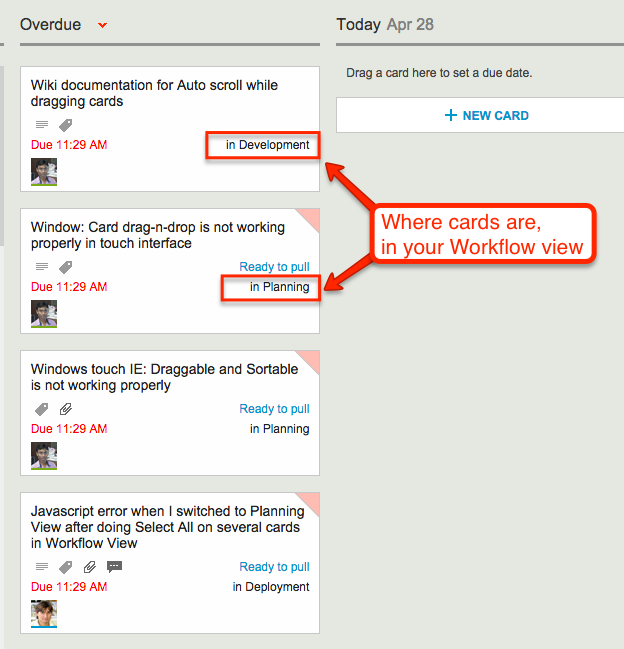 Where cards are in your Workflow view