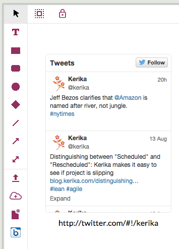Example of embedded Twitter feed