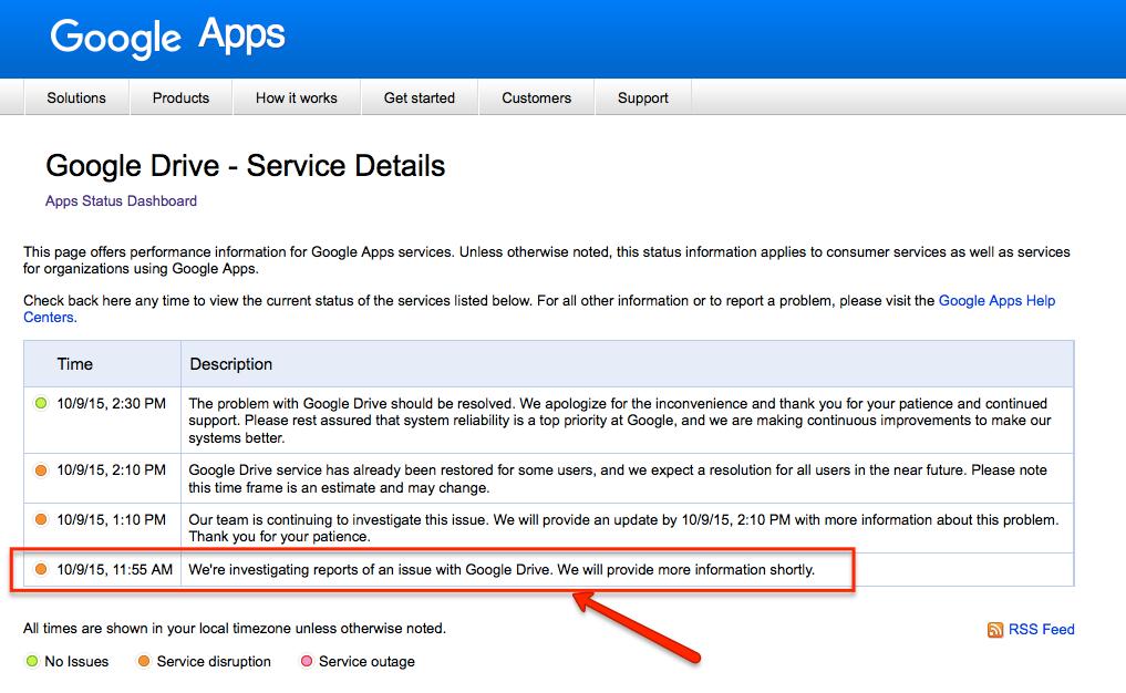 Oct 9 Google Apps status