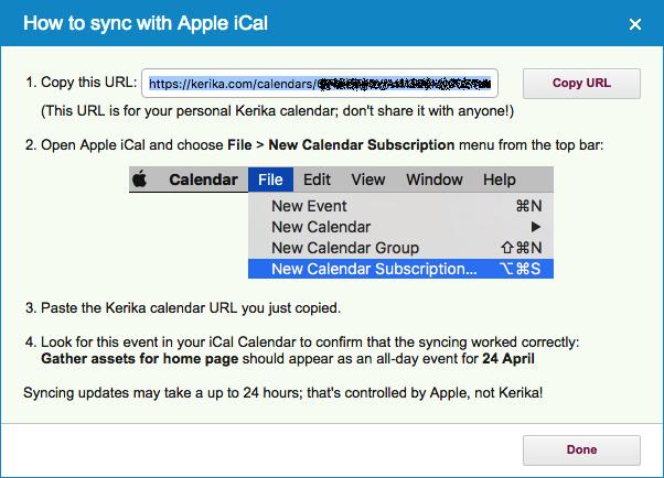 Apple Mac Calendar synching instructions