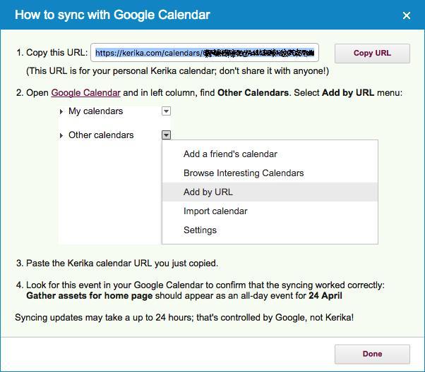 Google Calendar synching instructions