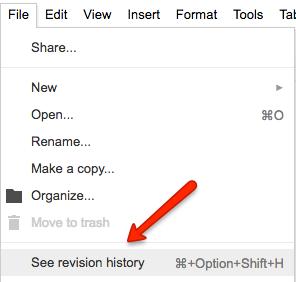 Google revision history