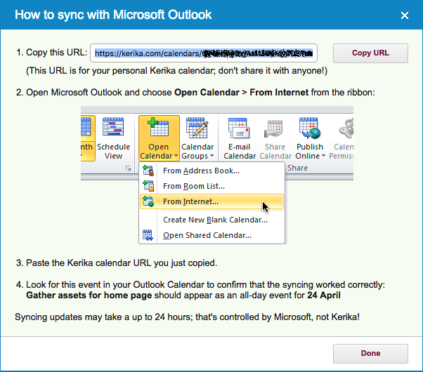 Microsoft Outlook synching instructions