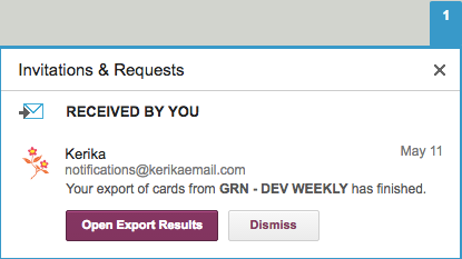 Export Notification in Kerika Inbox
