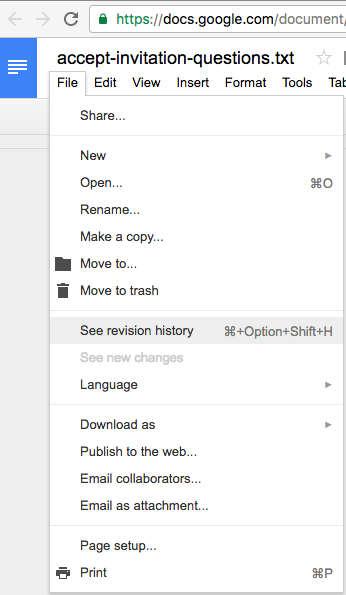 Google Docs versions