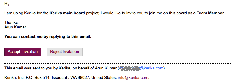 Example of invitation email