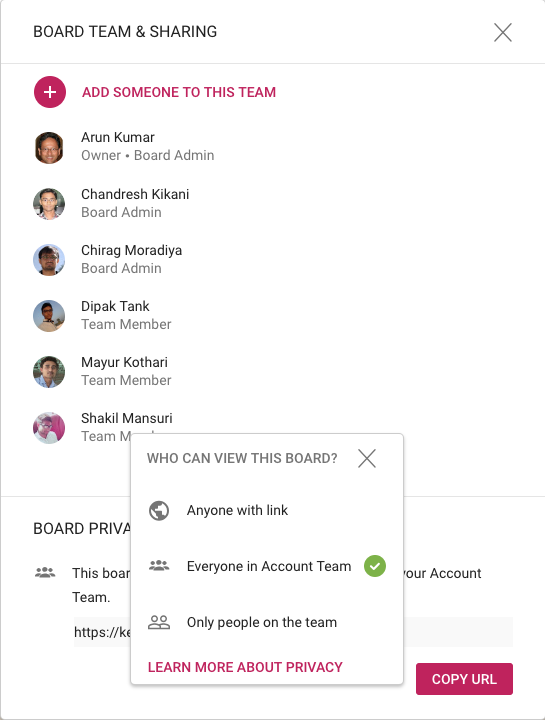 Board Privacy options