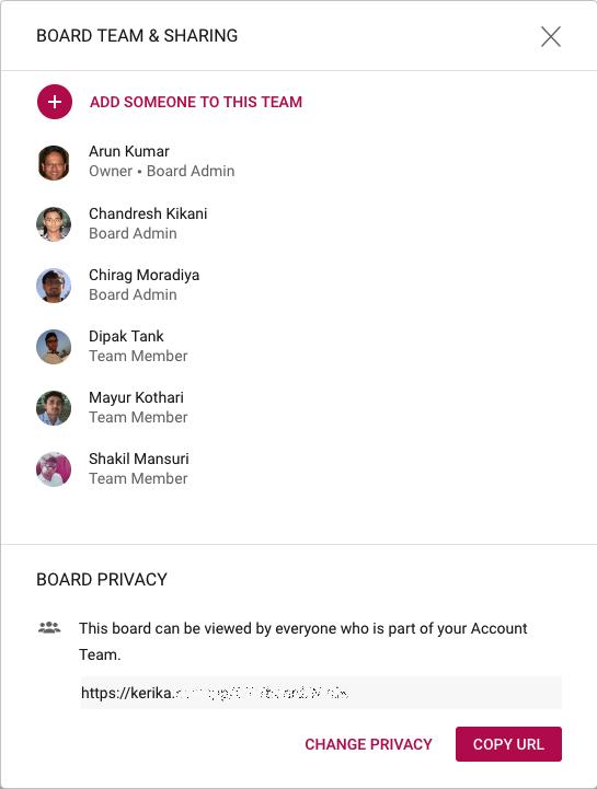 Board Team dialog