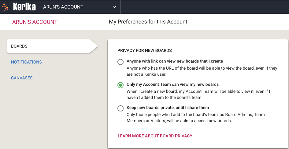 Privacy preferences