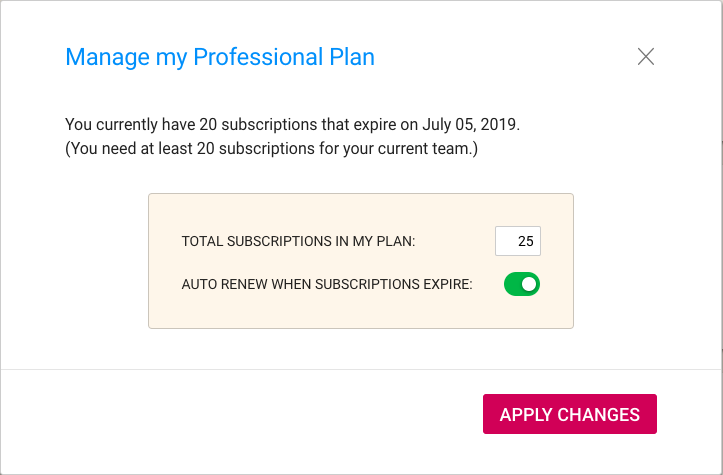 Changing number of subscriptions