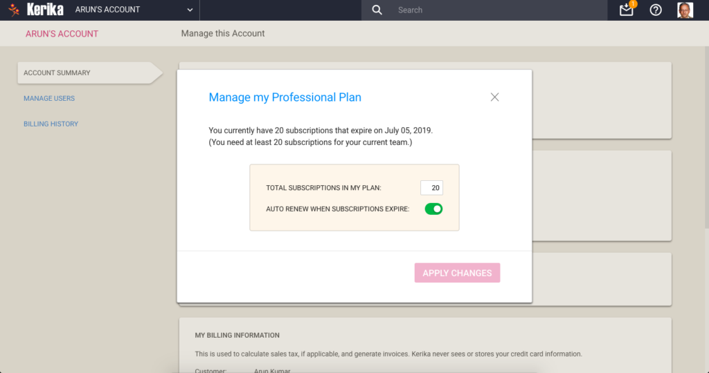 Manage Professional Plan