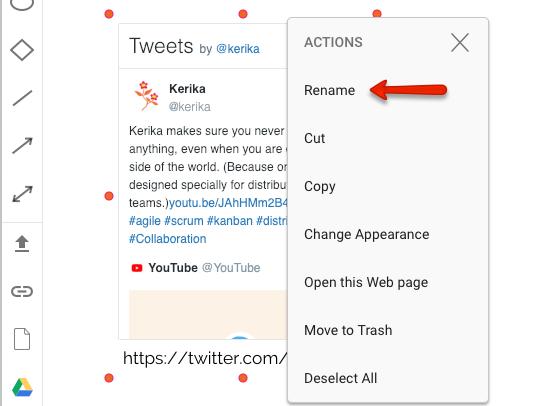 Renaming Twitter feed for Whiteboard