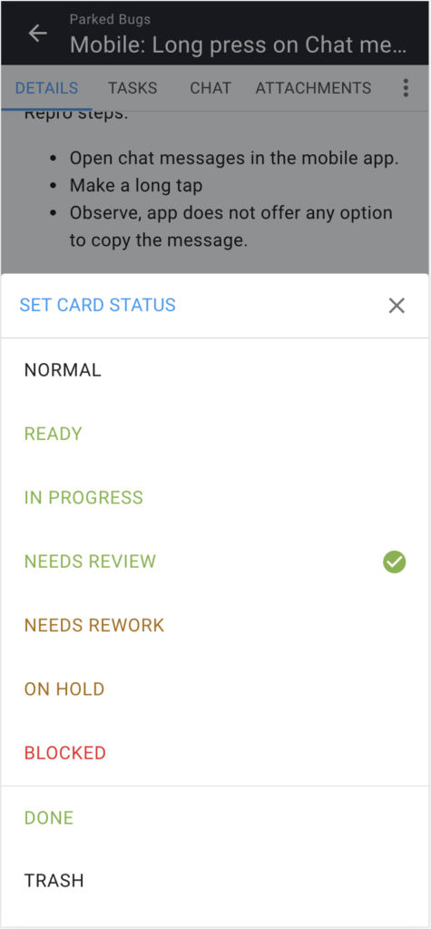 Screenshot of card details on mobile